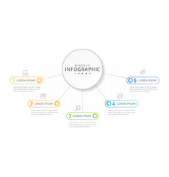 infographic 5 steps mindmap diagram with circles vector image