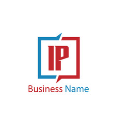 initial letter ip logo template design vector image