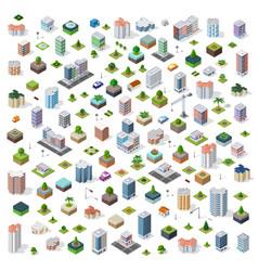 isometric city set street vector image
