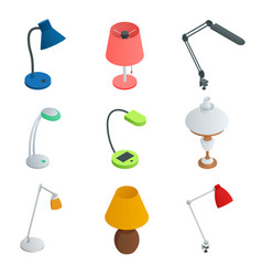 Isometric icon set of lamps modern designe flat vector