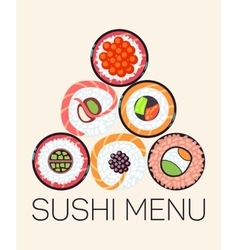 Japanese restaurant sushi menu logo template vector