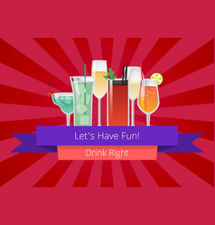 Lets have fun drink right manual web page design vector