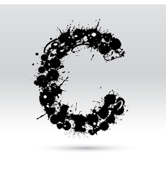 Letter C formed by inkblots vector image