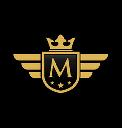 letter m shield wing vector image