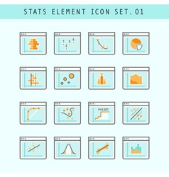 Line Flat Icons Statistic Elements Set 01 vector