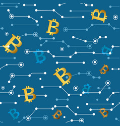 lines and bitcoins seamless pattern vector image