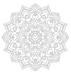 Mandala with hearts for coloring circular pattern vector