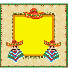 Mexican frame with man in sombrero vector image