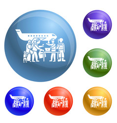 migrant people on plane icons set vector image