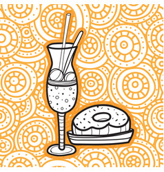 Milkshake and doughnut doodle style fast food vector