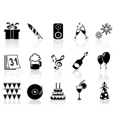 new year holiday icons set vector image