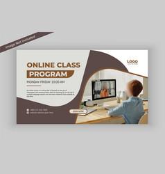 Online class program social media banner template vector