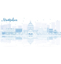 Outline Montpelier skyline with blue buildings vector