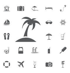 palms icon flat summer set vector image