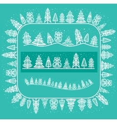 Pattern brush with winter trees vector image