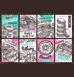 posters with sweets homemade bakery donuts vector image
