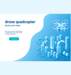 quadcopter photo video concept02 vector image