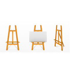 realistic wooden easel with white canvas vector image