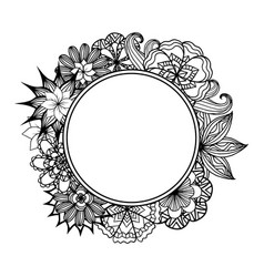 Round frame with black and white doodle flowers vector
