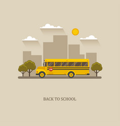 School bus flat with city landscape vector