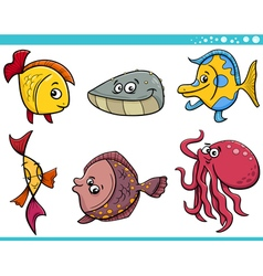 Sea life fish cartoon set vector