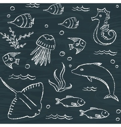 sealife chalkboard seamless pattern vector image