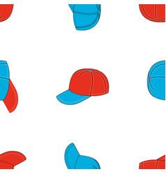 seamless pattern baseball caps various colour vector image