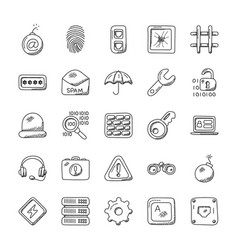 security creative doodle icons vector image