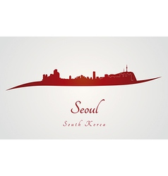 Seoul skyline in red vector image