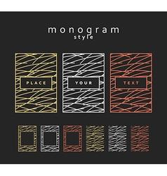 Set design elements Monogram labels frames vector image