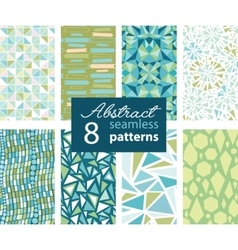 Set Of 8 Abstract Shapes Green Blue Repeat vector image