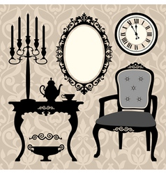 set of antique furniture and objects vector image