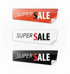 set of color stickers with the text super sale vector image
