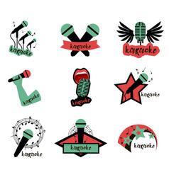 set of karaoke emblems colored green red and vector image