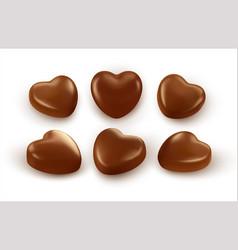 set realistic heart shaped chocolates isolated vector image