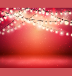 shine garland greeting background with lights vector image