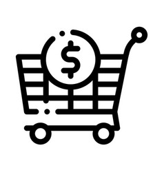 Shop cart dollar icon outline vector