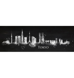 Silhouette chalk Tokyo vector image