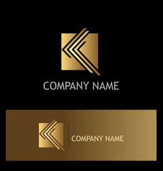 square letter k company gold logo vector image