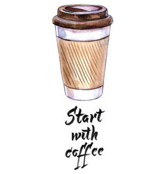 start with coffee coffee in blank craft take away vector image