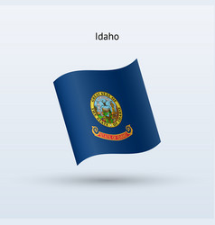 State of idaho flag waving form vector