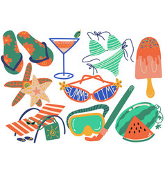 summer holiday symbols set flip flops bikini vector image