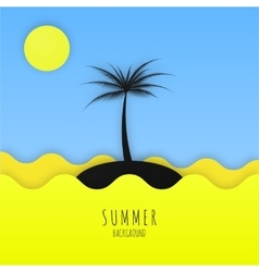 Summer minimalistic background with sea sun and vector image