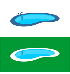 Swimming pool logo perspective pool vector