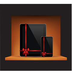 tablet computer mobile phone with ribbon vector image