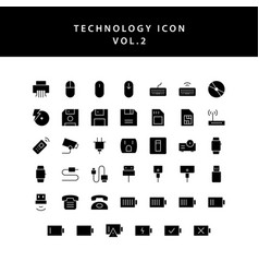 technology glyph style icon set vol2 vector image