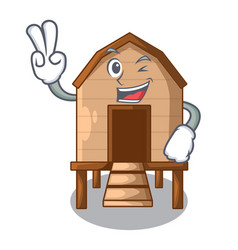 Two finger chicken coop isolated on a mascot vector