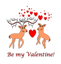 Two funny cartoon deer with words Be my Valentine vector
