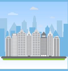 urban landscape city buildings silhouette vector image