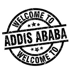 Welcome to addis ababa black stamp vector